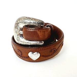 Tony Lama Silver Buckle Heart Conchos Leather Belt